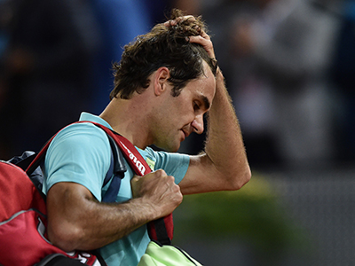 A disappointed Roger Federer after the loss. Photo: Getty