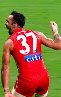 Goodes charges towards Carlton supporters on Friday night. Photo: Channel Seven/YouTube