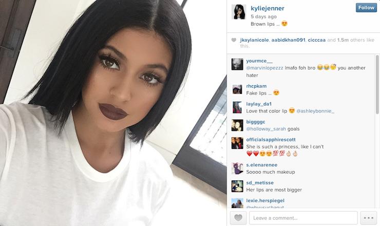 kylie jenner instagram brown lips