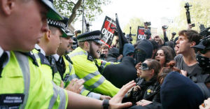 Police arrested five people in the anti-conservative demonstration.