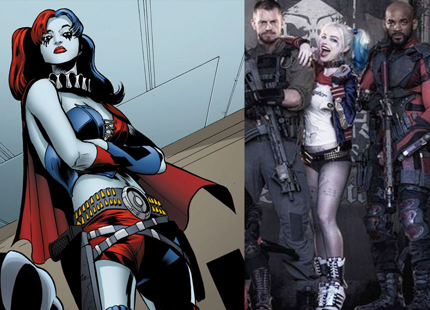Harley Quinn in the comic books (left) and in the film, played by Australian actress Margot Robbie.