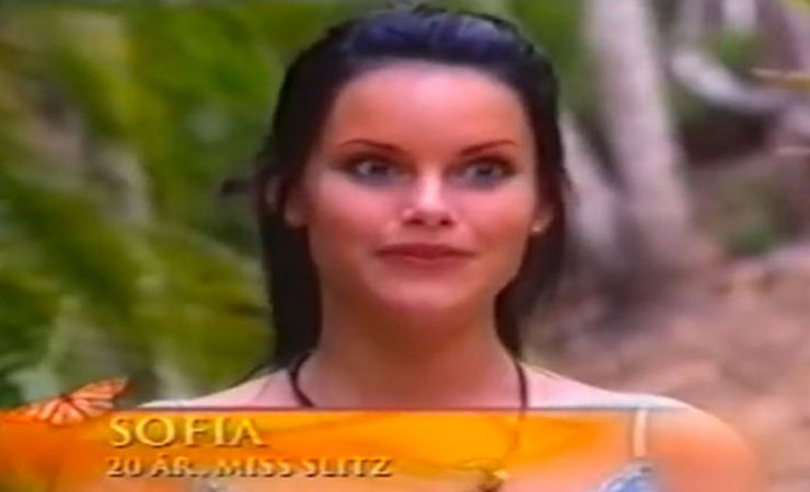 Sofia Hellqvist in a still from the reality show Paradise Hotel.