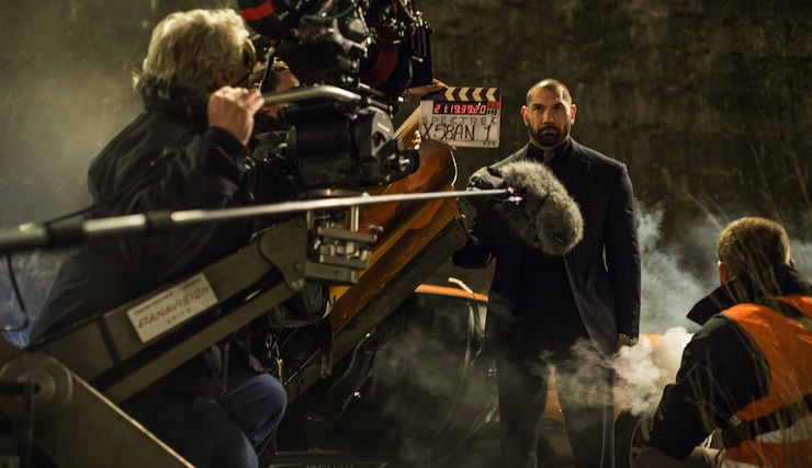 Dave Bautista, who plays Mr Hinx, on the film set.
