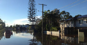 Street flooded in Carina.