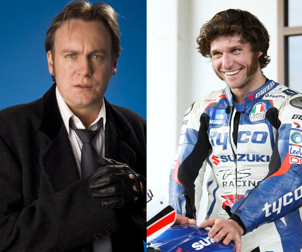 Actor Phillip Glenister (L), and motorcycle racer Guy Martin (R).