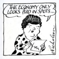 A Peter Nicholson cartoon of Joan Kirner, featured in The Age in 1991.