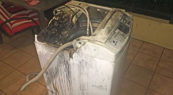 Samsung washing machine on fire