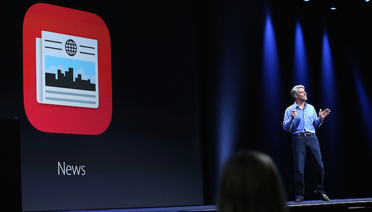 raig Federighi, Apple senior vice president of Software Engineering, speaks unveils the News app. Photo: Getty