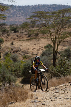A cyclist battles with hills. Photo: AAP