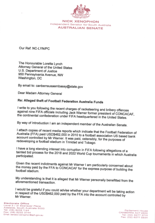 Letter Nick Xenophon FIFA