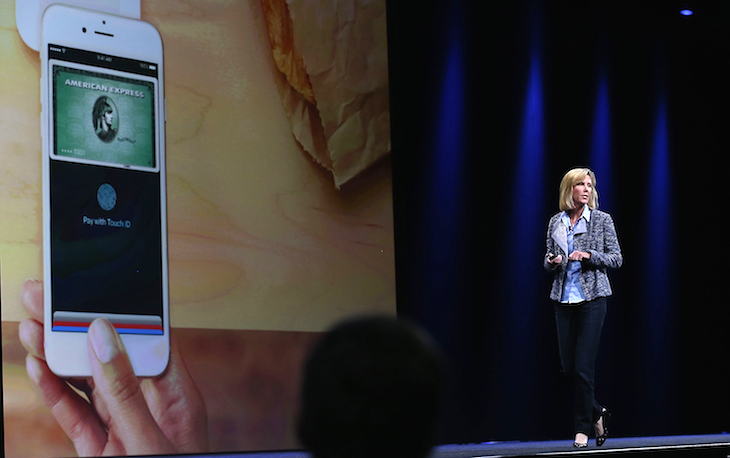 Apple Vice President of Worldwide Online Stores, Jennifer Bailey, speaks about Apple Pay. Photo: Getty