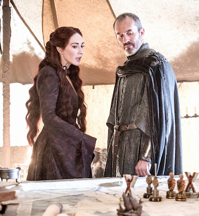Van Houten as Melisandre with Stannis Baratheon (played by Stephen Dillane).