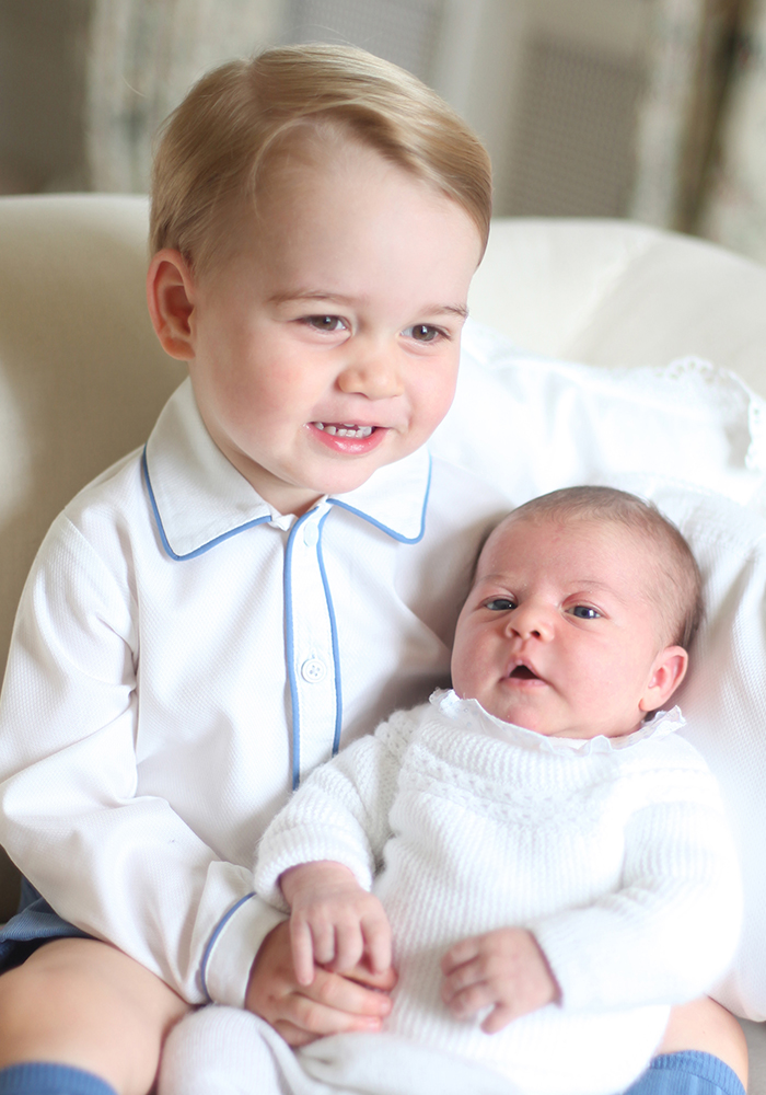 Prince George and his baby sister Princess Charlotte.