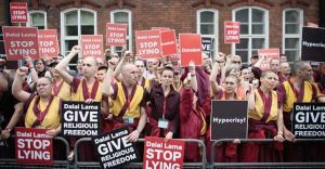 Looks familiar, this protest of Shugdens against the Dalai Lama was held in 2008 in London. Source: Getty.