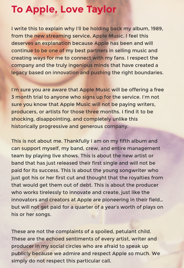 To Apple, love Taylor.