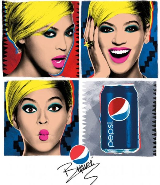 Soft drink is marketed using glamorous celebrities and colourful packaging.