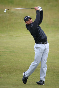 Jason Day is in a three-way tie for the lead as he bids to win his first major. Photo: Getty