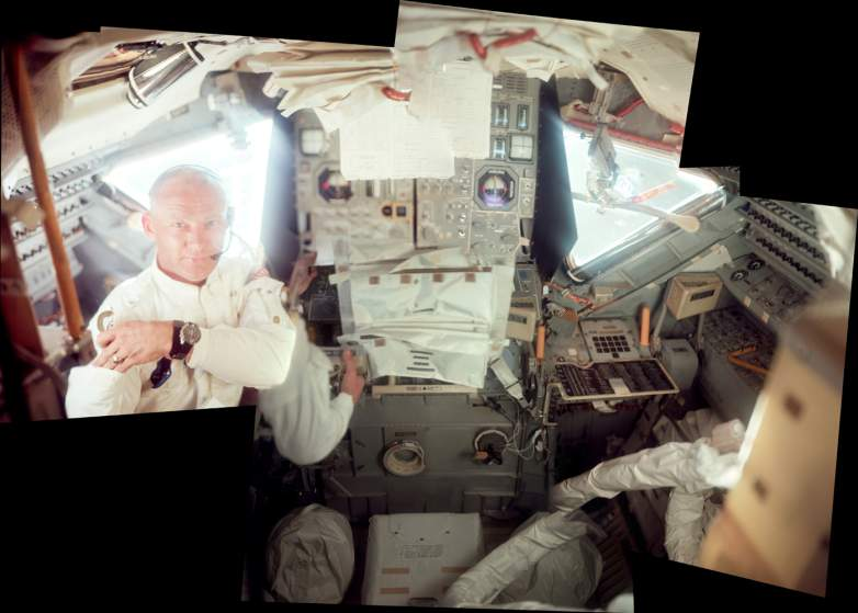 Neil Armstrong took this photo of Buzz Aldrin, again in the lunar module. Again note the mess of paper and dials as the crew fly toward the moon. Photo: NASA