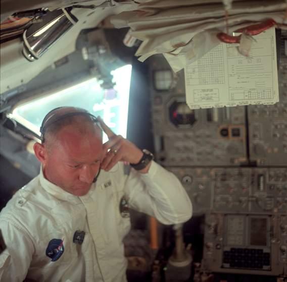 Buzz Aldrin inside Lunar module