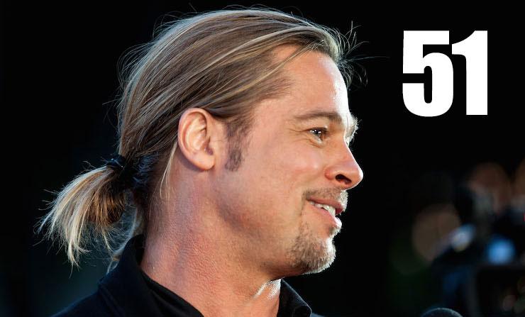 Brad Pitt Pony Tail And Glasses