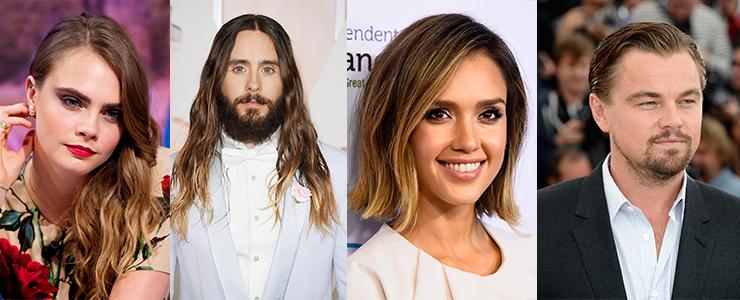 L-R: Cara Delevigne, Jared Leto, Jessica Alba, and Leonardo DiCaprio are all bronde. Photos: Getty