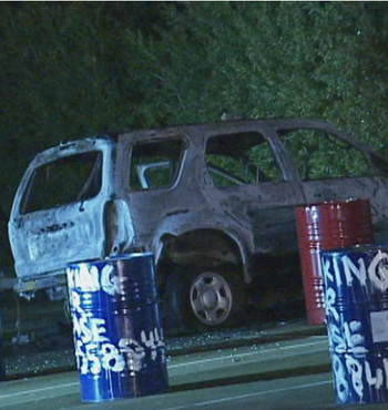 The burnt out car believed to be involved in the police shooting was found at Coburg North.