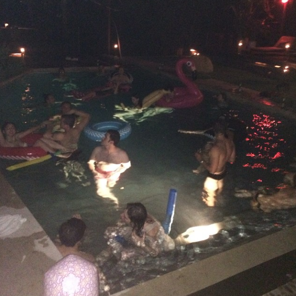 Demi Moore pool party