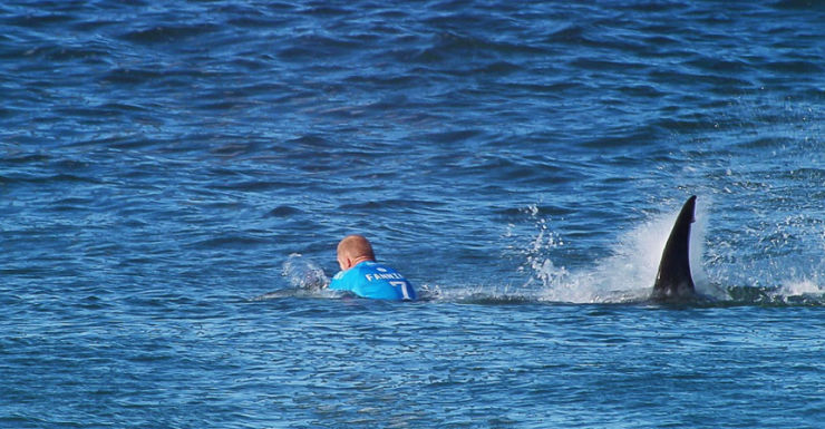 Mick Fanning fights off a shark at the J-Bay event.