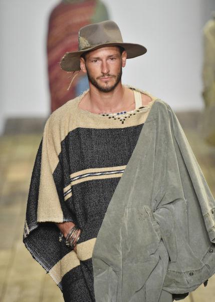 A model wears Greg Lauren. Photo: Getty