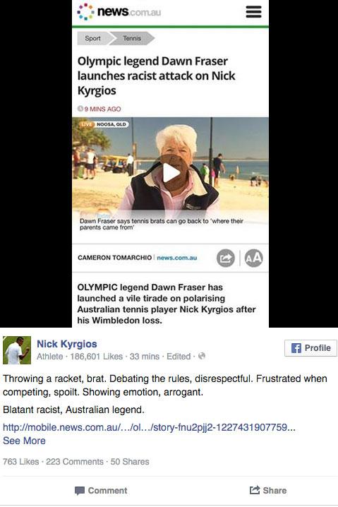 Kyrgios reacted quickly on social media. Photo: Facebook
