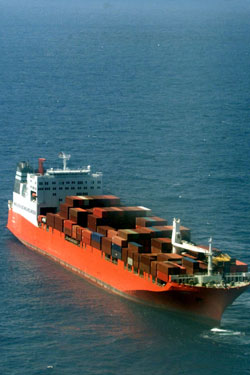 A ship banned from entering Australia for carrying illegal asylum seekers. Photo: AAP