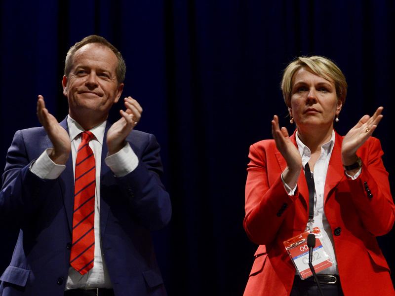Mr Shorten and his deputy Tanya Plibersek at the ALP conference.