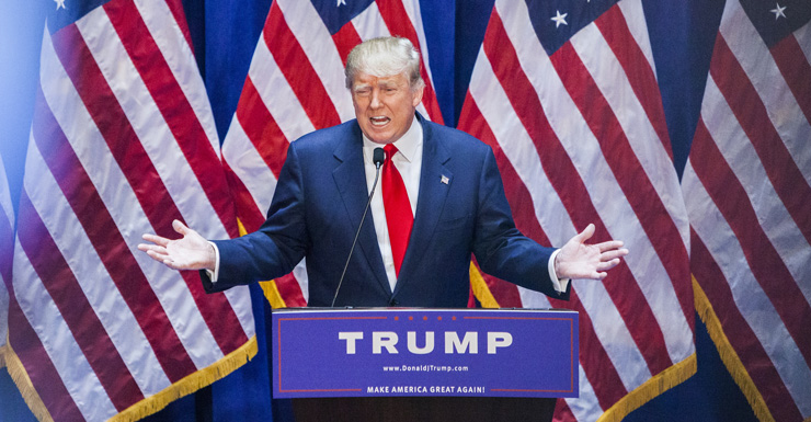 Donald Trump during his campaign launch.