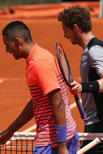 Andy Murray ended Kyrgios' runs at the Australian and French Opens this year. Photo: Getty