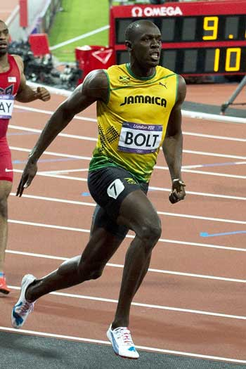 Bolt after winning gold in London, 2012. Photo: Getty