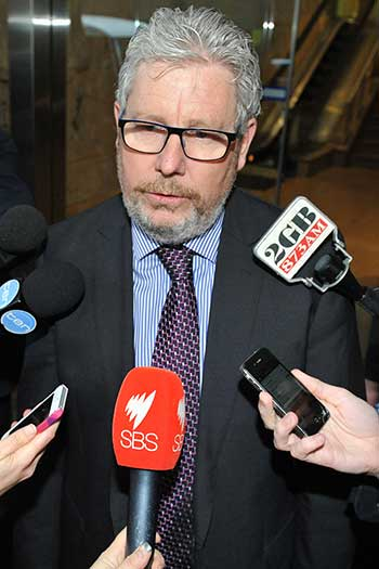 ACTU Secretary Dave Oliver outside the commission. Photo: AAP