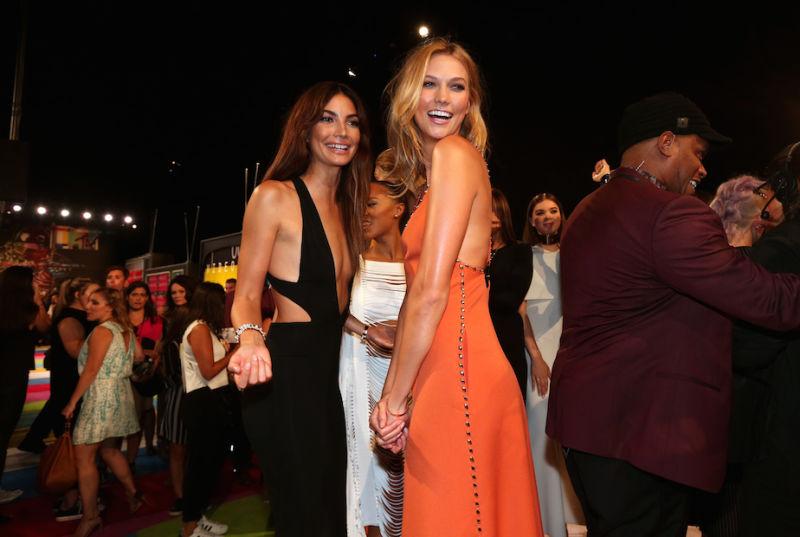 Victoria's Secret models Lily Aldridge (left) and Karlie Kloss being attractive.