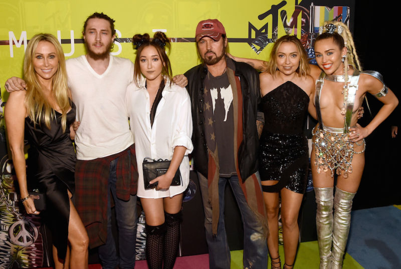 The Cyrus family, from left: mother Tish, Braison, Noah, father Billy Ray, Brandi and Miley.