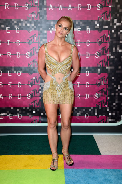 Britney Spears in a belly button-flashing mini.