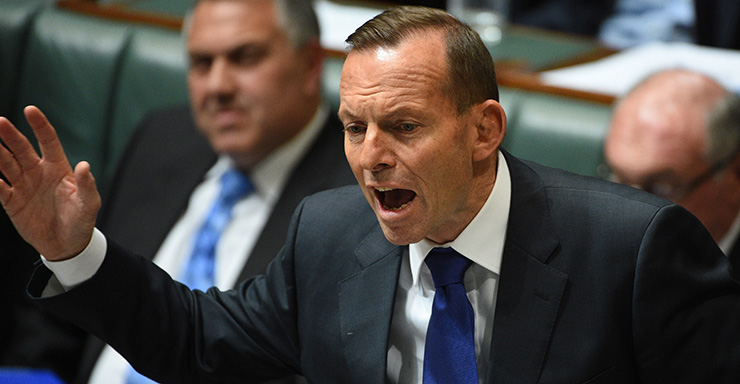 Prime Minister Tony Abbott during Question Time in the House of Representatives at Parliament House in Canberra, Monday, Aug. 17, 2015. (AAP Image/Mick Tsikas) NO ARCHIVING