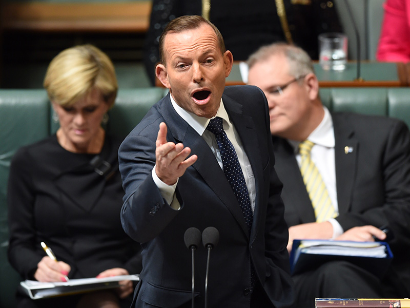 Prime Minister Tony Abbott speaks during House of Representatives Question Time at Parliament House in Canberra, Wednesday, Aug. 19, 2015. (AAP Image/Lukas Coch) NO ARCHIVING
