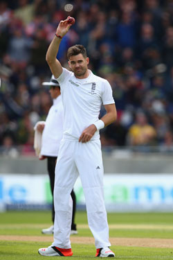 Jimmy Anderson had the ball talking on the helpful Edgbaston pitch. Photo: Getty
