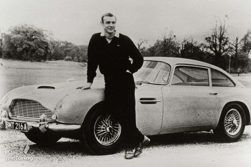 Sean Connery with the Aston Martin DB5.