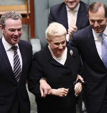 Mrs Bishop is escorted to her chair by the PM and Christopher Pyne when elected as speaker in November 2013.