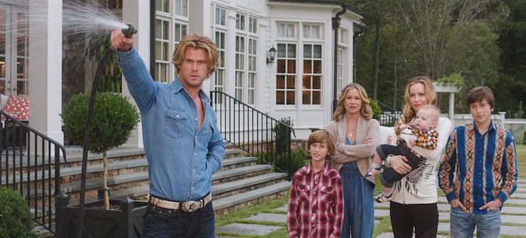 Chris Hemsworth does his best Blue Steel as Audrey's (Leslie Mann) weatherman husband.