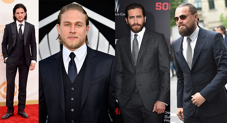 Kit Harington, Charlie Hunnam, Jake Gyllenhaal and Leonardo DiCaprio all fit the dandy wildman bill. Photos: Getty