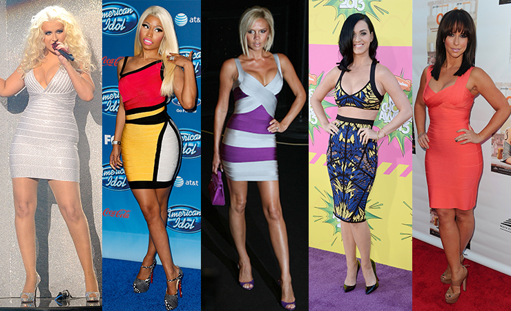 Fans of the brand's bandage dresses include (L-R) Christina Aguilera, Nicki Minaj, Victoria Beckham, Katy Perry and Jennifer Love Hewitt. Photos: Getty