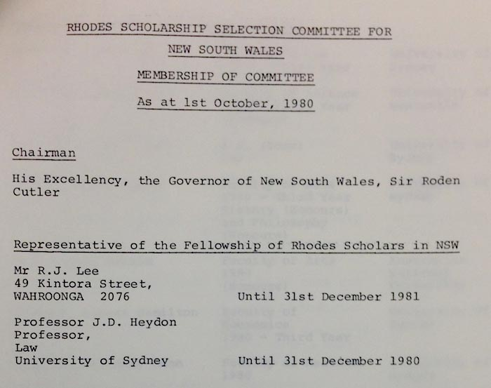 A document shows Dyson Heydon's position on the Rhodes Scholarship selection committee in 1980.