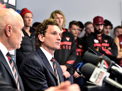Essendon head coach James Hird holds a press conference to announce that he will be leaving the Essendon Football Club, Tuesday Aug. 18, 2015. (AAP Image/Joe Castro) NO ARCHIVING