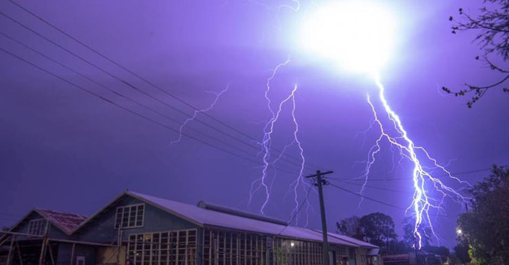A lightning strike in Lismore on Monday.